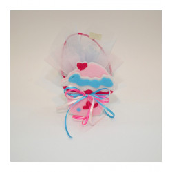 Μπομπονιέρα Βάπτισης Τσαντάκι Τσόχινο Ροζ Cupcake