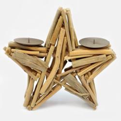 Ξύλινο αστέρι κηροπήγιο 30x30Υ