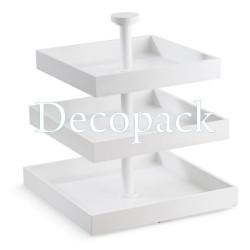 Ξυλινη Τουρτιέρα Τετράγωνη Λευκή